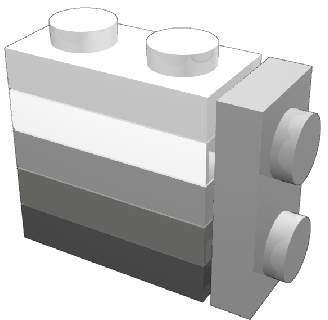 L'altezza di 5 plate (5 × 8 = 40 LDU) è uguale alla larghezza di 2 Unità LEGO (2 L = 40 LDU)