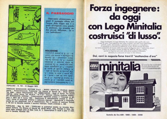 Pubblicità Minitalia su Topolino n. 754.